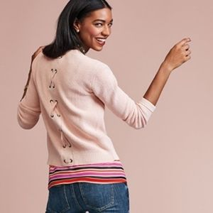 CAbi Pink Eliza Lace Up Back Cardigan Sweater 3357